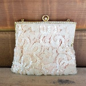 Handbags - Victorian/ vintage pink purse with lace & rhinesto